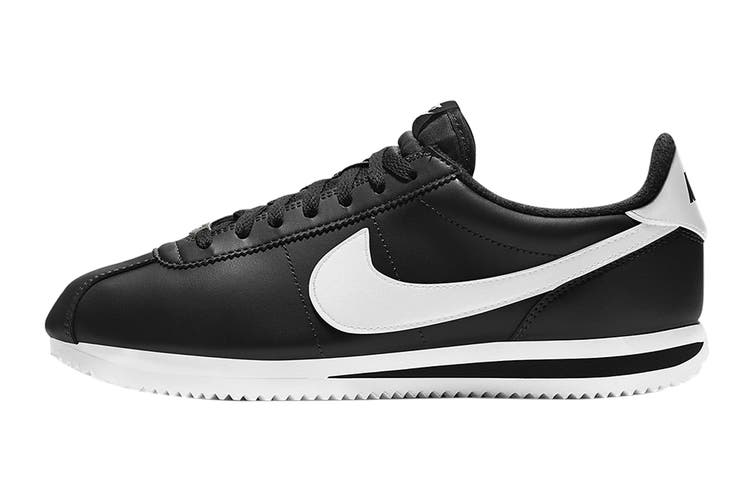 Nike Men's Cortez Basic Leather Shoe (Black/White/Metallic Silver, Size 15 US)