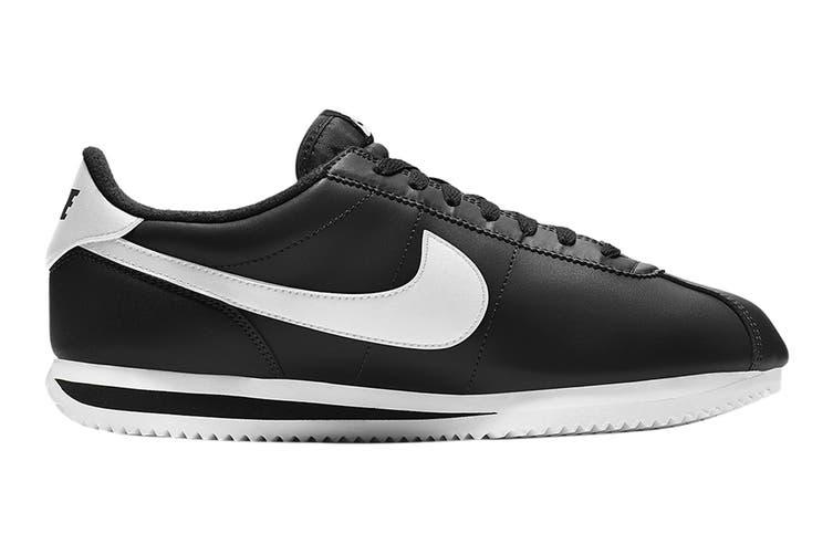 Nike Men's Cortez Basic Leather Shoe (Black/White/Metallic Silver, Size 9 US)
