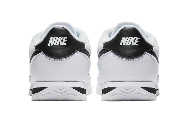 Nike Men's Cortez Basic Leather Shoe (White/Black/Metallic Silver, Size 10 US)