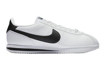 Nike Men's Cortez Basic Leather Shoe (White/Black/Metallic Silver, Size 13 US)