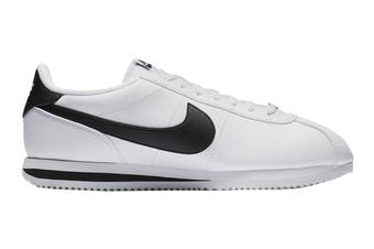 Nike Men's Cortez Basic Leather Shoe (White/Black/Metallic Silver, Size 14 US)