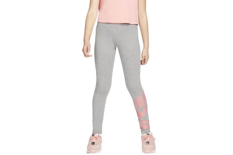 Nike Girls' Sportswear Graphic Leggings (Grey, Size M)