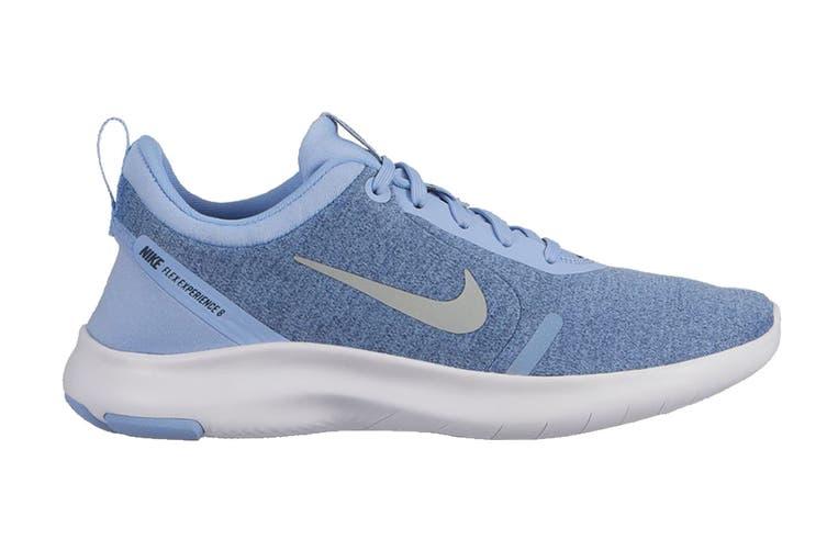 Nike Flex Experience RN 8 Women's Running Shoe (Aluminum/Metallic Silver/Blue Void/White, Size 6.5 US)