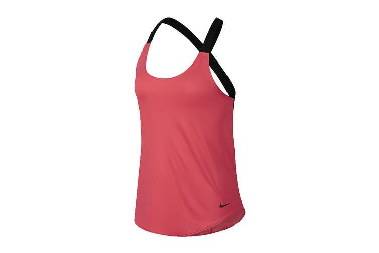 Nike Women's Dri-Fit Elastika Tanks (Pink/Black, Size L)