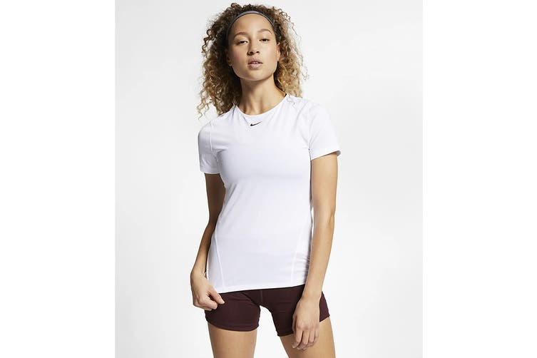 Nike Women's Pro Mesh Training Tees (White, Size S)