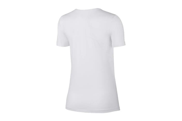 Nike Women's Pro Mesh Training Tees (White, Size XS)