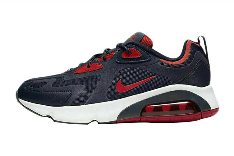 Nike Men's Air Max 200 Sneaker (Obsidian/University Red/Summit White, Size 11 US)