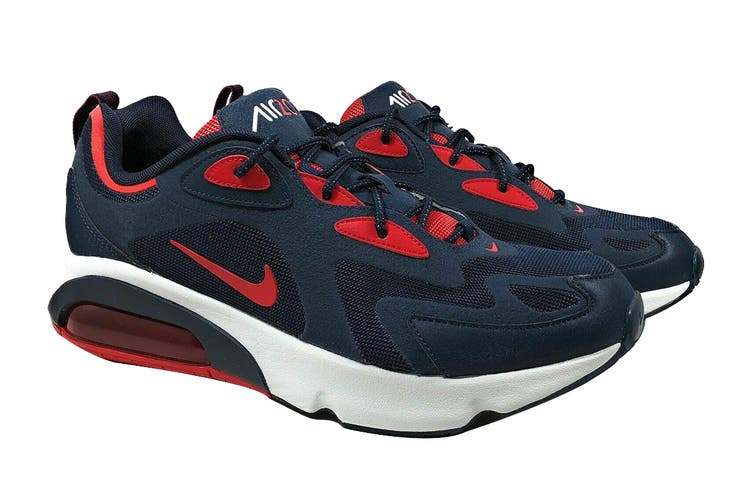 Nike Men's Air Max 200 Sneaker (Obsidian/University Red/Summit White, Size 13 US)