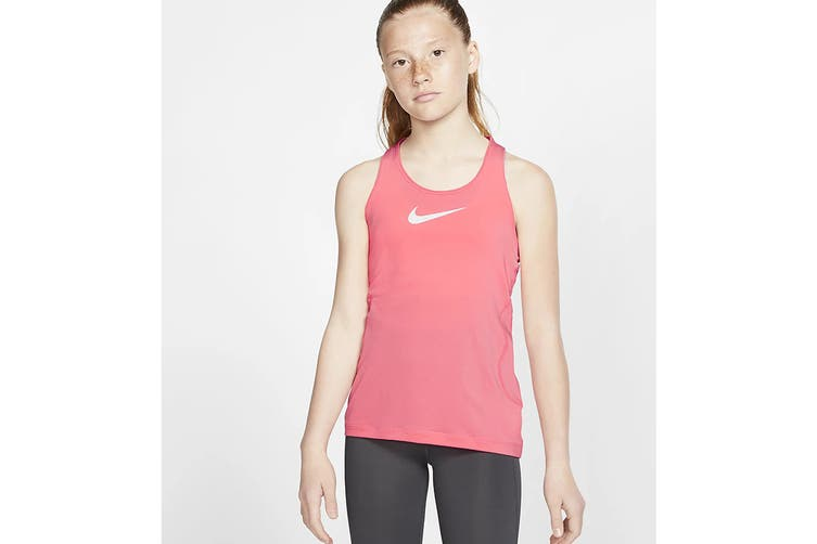 Nike Girls' Pro Tanks (Pink/White, Size L)