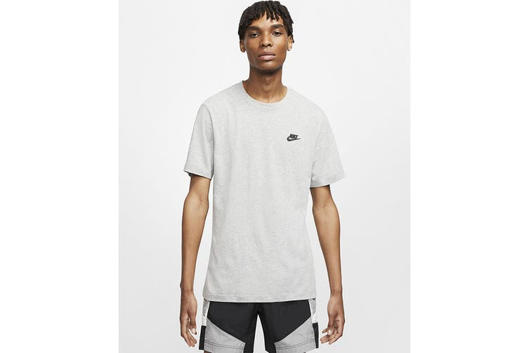 Nike Men's Club Tee (Dark Grey Heather/ Black, Size L)