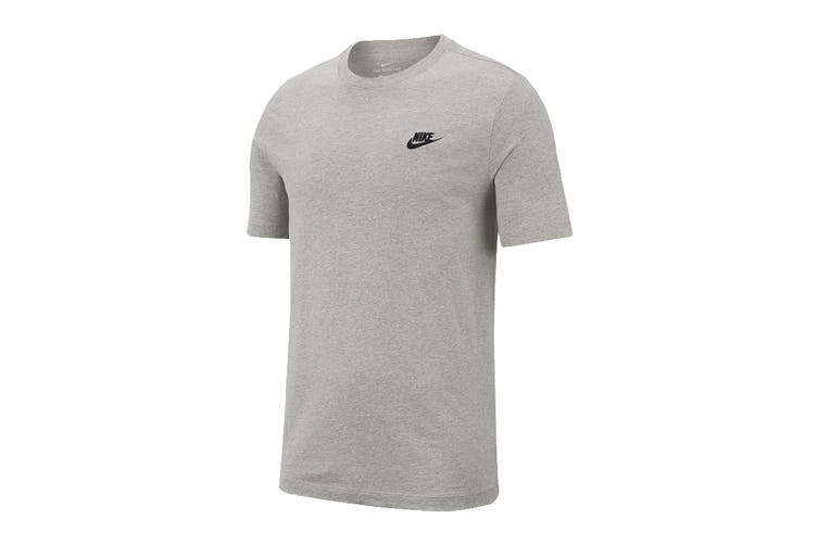 Nike Men's Club Tee (Dark Grey Heather/ Black, Size M)