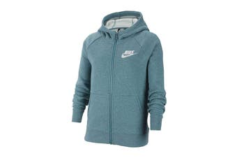 Nike Girls' Sportswear Full Zip Hoodies (Mineral Teal/Heather/White)