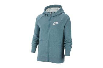 Nike Girls' Sportswear Full Zip Hoodies (Mineral Teal/Heather/White)