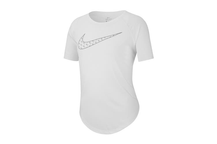 Nike Girls' Dri-Fit Trophy Graphics Tees (White, Size S)