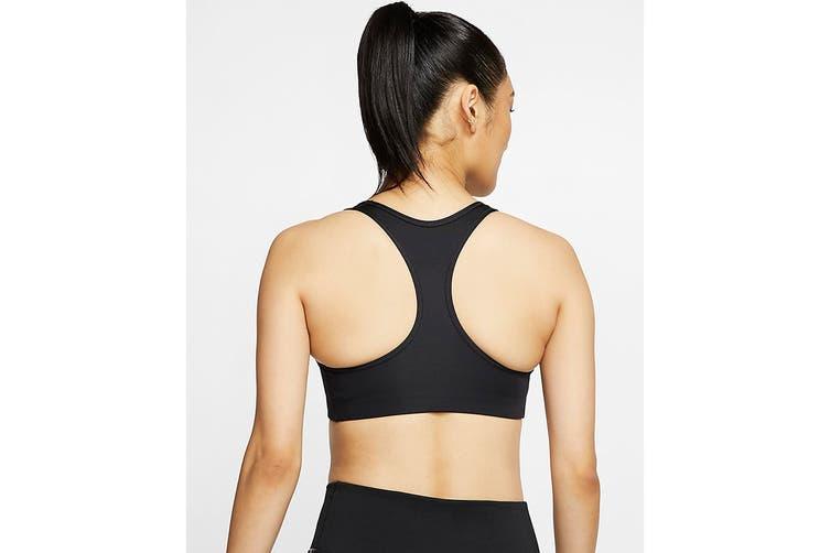 Nike Women's Swoosh Futura Medium Support Bra (Black, Size L)