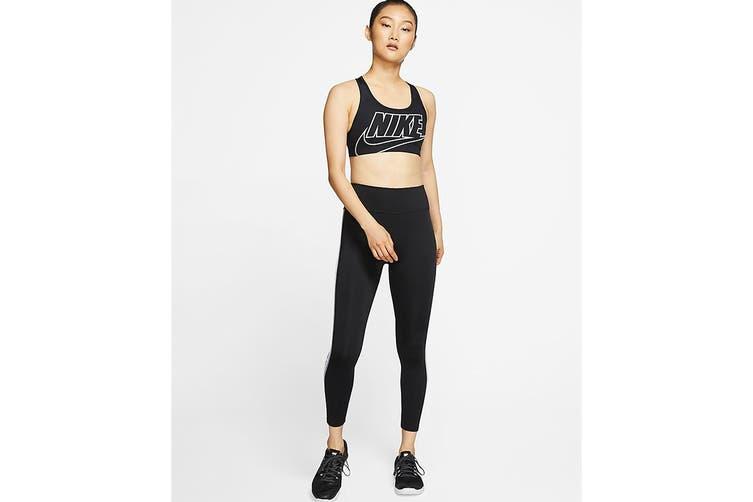 Nike Women's Swoosh Futura Medium Support Bra (Black, Size M)