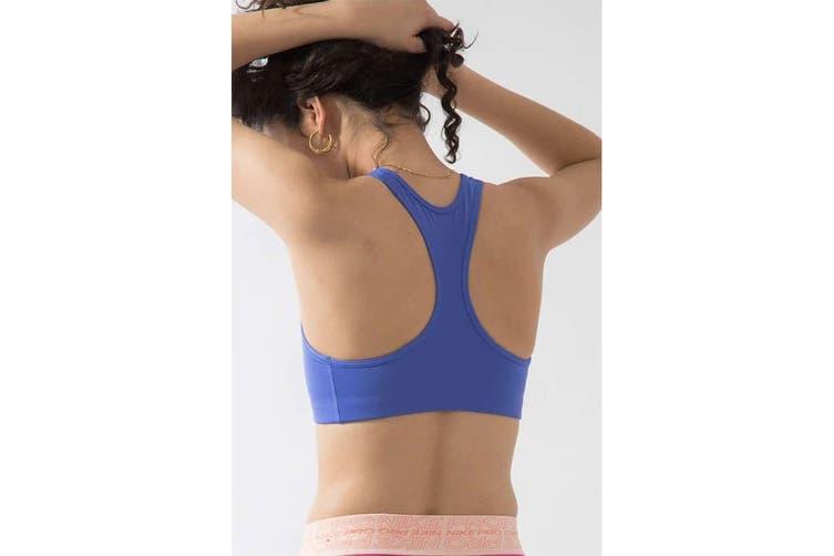 Nike Women's Swoosh Futura Bra (Sapphire/Pollen Rise, Size XS)
