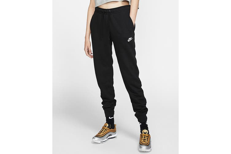 Nike Women's Essential Fleece Regular Pants (Black, Size S)