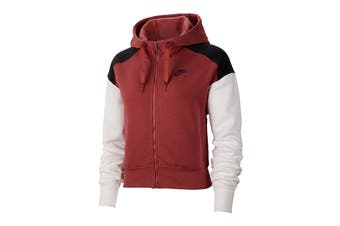 Nike Women's Sportswear Air Zip Hoodies (Red/White/Black, Size S)