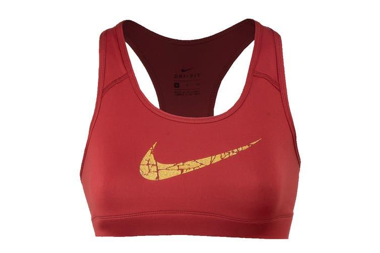 Nike Women's Victory Compression Metallic Graphic Bra (Pink, Size S)