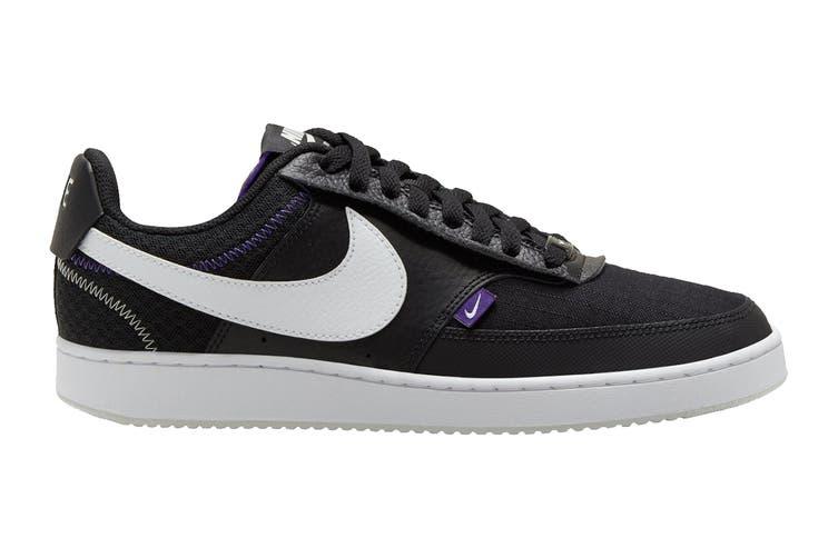 Nike Men's Nike Court Vision Lo Premium Sneaker (Black/White/Photon Dust/Court Purple, Size 8.5 US)