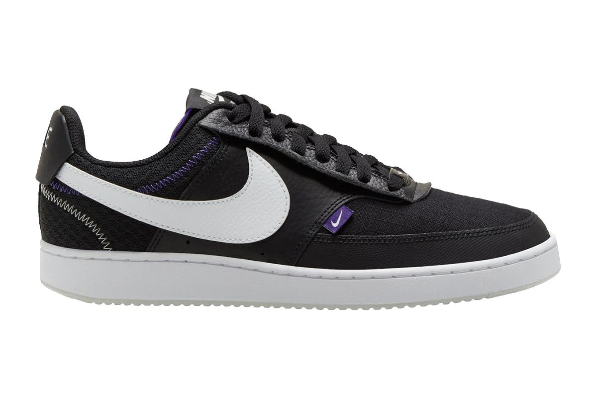 Nike Men's Nike Court Vision Lo Premium Sneaker (Black/White/Photon Dust/Court Purple, Size 9 US) Nike Men's Nike Court Vision Lo Premium Sneakers are great for everyday use as they were made of high-quality materials and feature timeless cut and unusual design.   Synthetic sole material Lace-up closure Durable bottom sole offers superior traction Great for casual outfits