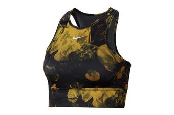 Nike Women's Everything Floral Bra (Wheat/Black, Size L)