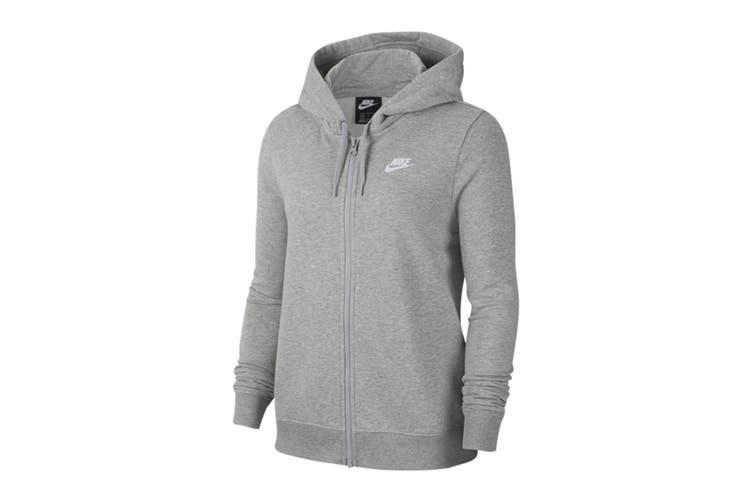 Nike Women's Club Full Zip Hoodie (Dark Grey Heather/Silver, Size L)