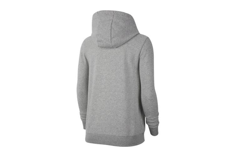 Nike Women's Club Full Zip Hoodie (Dark Grey Heather/Silver, Size XS)