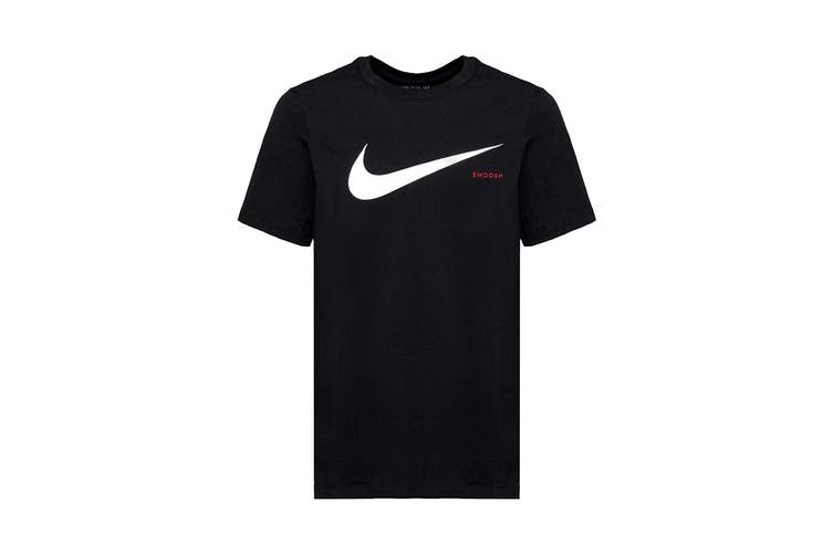 Nike Men's Swoosh Short Sleeve Tee (Black, Size XL)