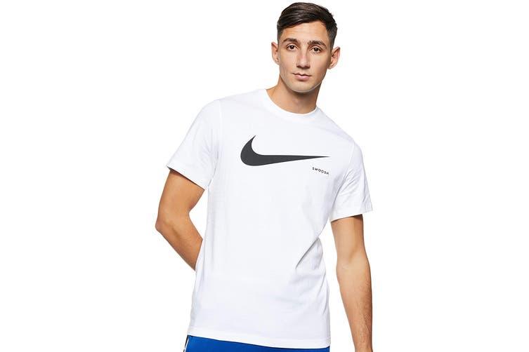 Nike Men's Swoosh Short Sleeve Tee (White/Black, Size L)