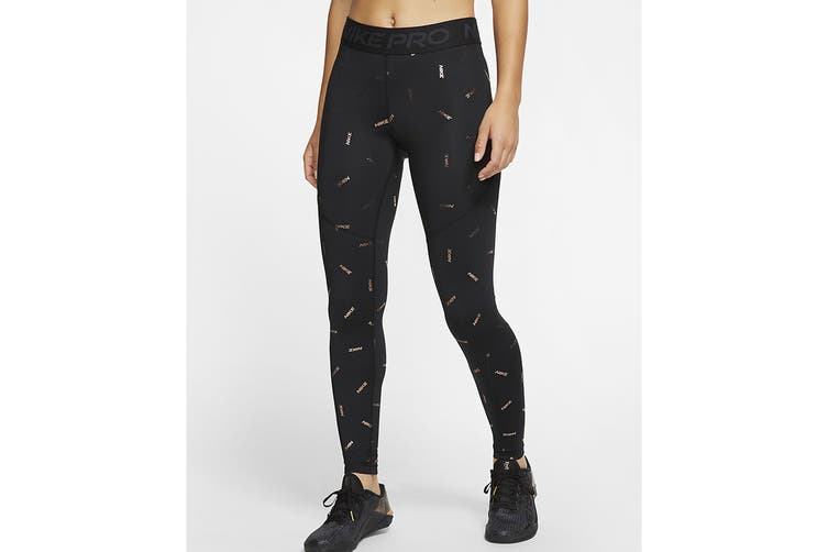 Nike Women's Toss Print Tight (Black, Size S)