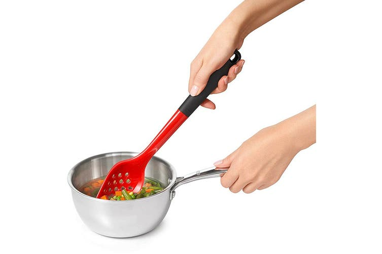 OXO Good Grips Silicone Long Slotted Basting Spoon (Red)