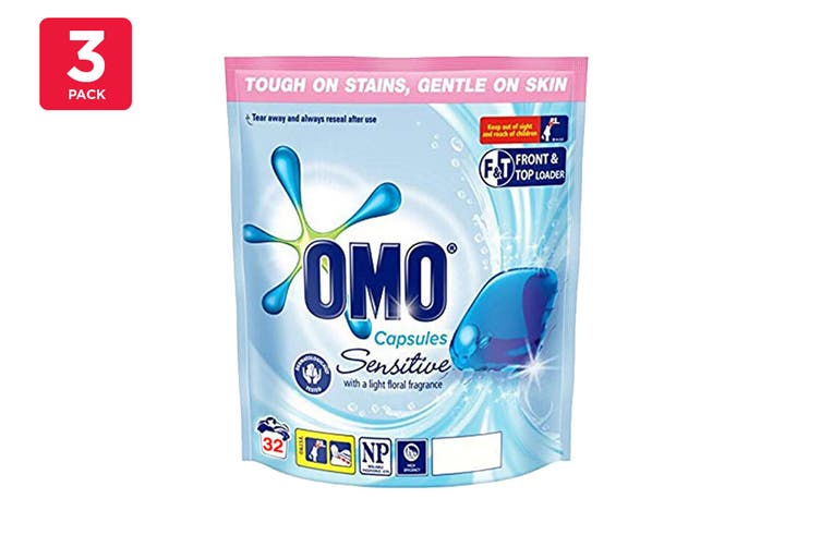 Omo Laundry Liquid Capsules Top & Front Loader Sensitive (3 x 32 Pack)