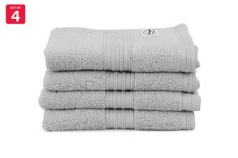 Onkaparinga Ultimate 100% Turkish Cotton Face Washer Set of 4 (Silver)