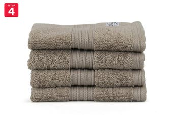 Onkaparinga Ultimate 100% Turkish Cotton Face Washer Set of 4 (Mocha)