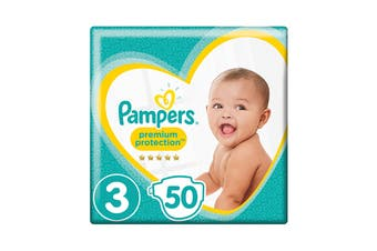 Pampers 50 Pack Premium Protection Crawler Nappies (Size 3)