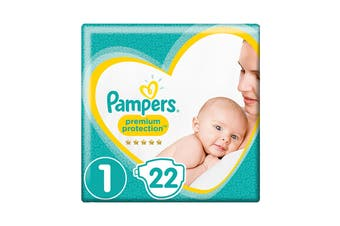 Pampers 22 Pack Premium Protection Newborn Nappies (Size 1)