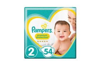 Pampers 54 Pack Premium Protection Infant Nappies (Size 2)