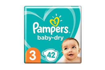 Pampers 42 Pack Baby Dry Tapes Crawler Nappies (Size 3)