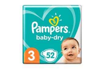 Pampers 52 Pack Baby Dry Tapes Crawler Nappies (Size 3)
