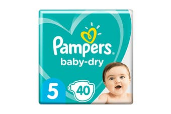 Pampers 40 Pack Baby Dry Tapes Walker Nappies (Size 5)