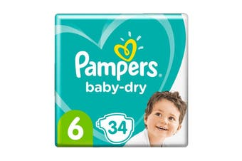 Pampers 34 Pack Baby Dry Tapes Junior Nappies (Size 6)