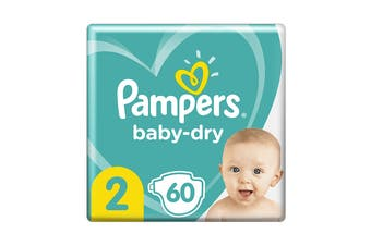 Pampers 60 Pack Baby Dry Tapes Infant Nappies (Size 2)
