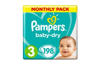 Pampers 198 Pack Baby Dry Tapes Crawler Nappies (Size 3)