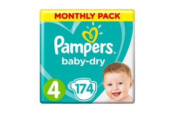 Pampers 174 Pack Baby Dry Tapes Toddler Nappies (Size 4)
