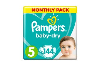 Pampers 144 Pack Baby Dry Tapes Walker Nappies (Size 5)