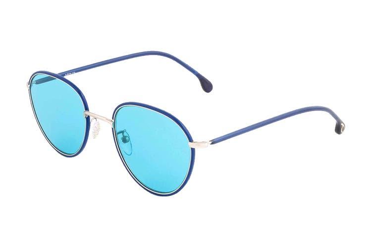 Paul Smith ALBION Sunglasses (Deep Navy/Matte Silver, Size 53-21-145) - Blue