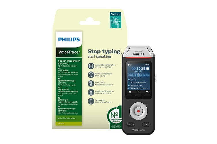 Philips VoiceTracer 8GB Audio Recorder with Speech Recognition Software (DVT2810)