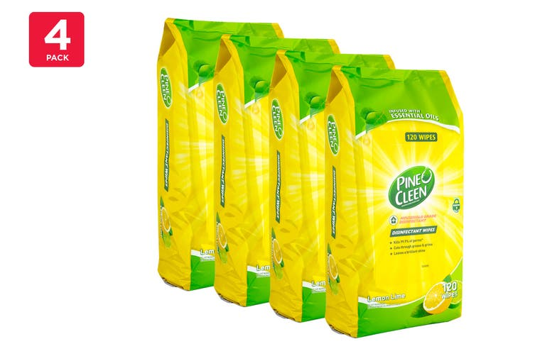 Pine O Cleen Disinfectant Wipes - Lemon Lime (4 x 120 Pack)